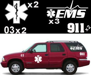 Deluxe Fire EMS Emergency Response Truck Decal Set