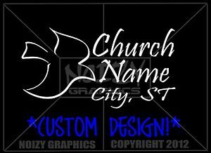 32 Christian Car Truck Vinyl Window Sticker Decals Custom Church Design Dove
