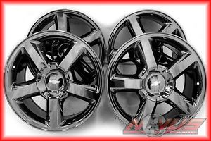 "New 20"" Chevy Tahoe LTZ Silverado GMC Yukon Sierra Black Chrome Wheels 22"""