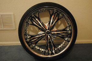 22 x 9.5 DIABLO ANGEL CHROME WHEELS RIMS + Low Pro Tire Package Wheel