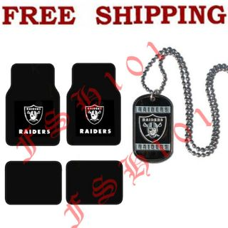 New Official NFL Oakland Raiders Car Truck Floor Mats Neck Tag Necklace