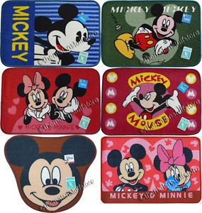 Disney Mickey Minnie Mouse Bath Mats Floor Rugs Non Slip Rubber Backing Genuine