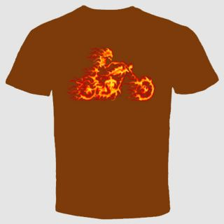 Biker T Shirt Motorcycle Flames Ride Skull Punk Chopper Wild Cool Gift Skeleton
