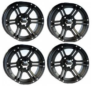 "ITP SS212 ATV Wheels Rims Black 12"" Honda Foreman Rancher SRA Solid Axle 4"