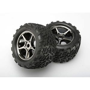 Traxxas 5374X Gemini Black Chrome Wheels Talon Tire 2 17 mm Hub 1 10 E Revo