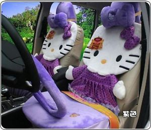 12pcs Hello Kitty Car Seat Covers Universal Car Cushion Steering Wheel Cover