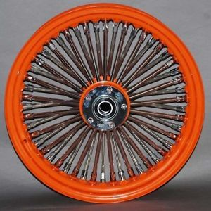 Custom Wheel Set Fat Daddy Rim Hub Orange Chrome Spokes Nipples for Harley