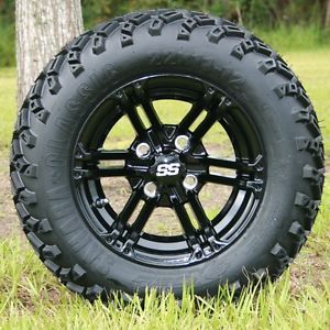 New 12x7 Black Specter Golf Cart Wheels and All Terrain Sahara Classic Tires