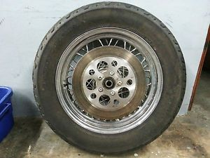 "16"" Rear Rim Dunlop Tire Spoke Wheel Harley Dyna Road King Softail Touring"