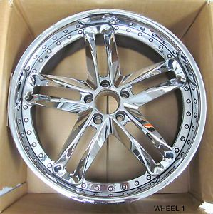 4 Nice MHT Vortex Dub x 60 Chrome Two Piece Wheels Set 21x10 5 │RS