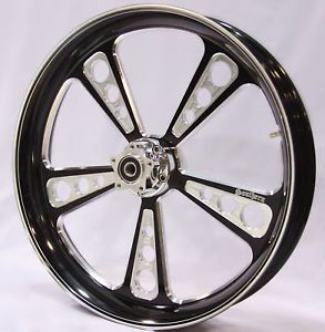 "Black Contrast Billet 23"" x 3 75"" Front Wheel Custom Harley"