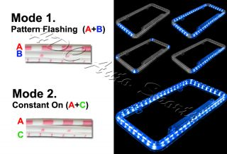 Universal 12V 54 Blue LED Lighting Acrylic Plastic License Plate Cover Frame