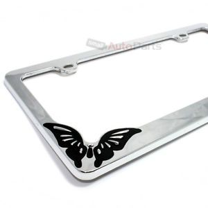 Chrome Metal Butterfly Custom License Plate Tag Frame for Auto Car Truck SUV