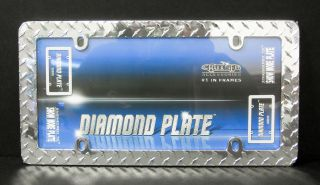 Diamond Plate License Plate Frame Cruiser Accessories Chrome Metal