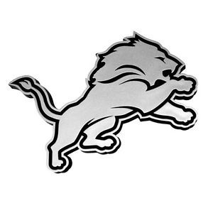 Detroit Lions Chrome Auto Emblem Car Sticker NFL Logo Vehicle Silver Lion Decal