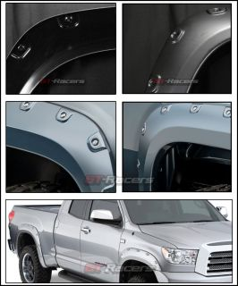 Black Pocket Style Front Rear Fender Flares Kit Wheel Cover 07 13 Toyota Tundra