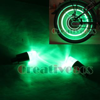 2X LED Bike Motorcycle Wheel Tyre Tire Valve Caps Covers Neon Lights Green