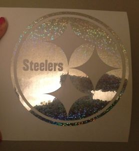 "Pittsburgh Steelers Vinyl Car Decal Sticker in Silver Sparkle 2 5 5"" Wide"