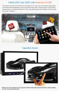 "Capacitive Android 4 0 7"" 2 DIN in Dash Car DVD Radio Stereo Player GPS Tablet"