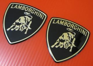 Lamborghini Car Logo Aluminium Grille Fender Emblem Logo Badge Sticker Decal x 2