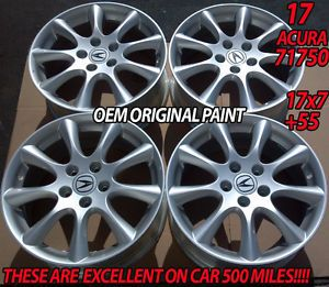 "4 New 17"" Acura TSX Silver Wheels Rims Integra Type R MDX RSX TL CL s 71750"
