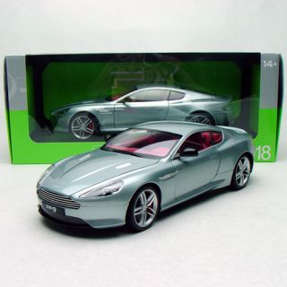 1 18 Welly FX Serie Aston Martin DB9 Diecast Model Silverblue Red Interior FrShp
