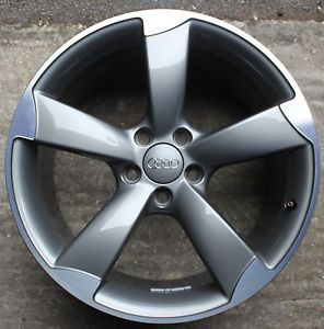"One Audi ttrs 19"" 5 Spoke Rotor Alloy Wheel 9J 8J0601025AP TTS Titanium Grey TT"