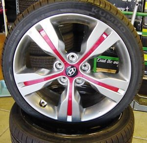 "Hyundai 2013 Red Veloster Sonata Elantra 18"" inch Wheels Tires Set of 4"