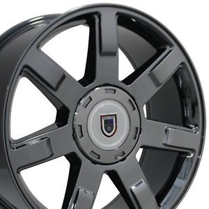 "Set of 4 22"" Cadillac Escalade Replica Black Chrome Wheels Rims 22x9 Chevy New"