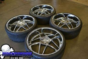 "24"" U2 145 Chrome Wheels Rims 24X10 5x115 5x120 Dodge Charger Chrysler 300"