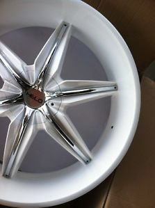 "24"" Gloss White Rims Tires Chrome Inserts 5x115 Charger Chrysler 300 rwd 2752524"