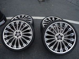 "Used 22"" Staggered Dub x38 Brushed Black Wheels and Tires Jaguar XK XJ XJL"