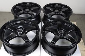 17 5x114 3 Matte Black Wheels Lexus Mazda 3 6 Lancer Civic G35 Accord 5 Lug Rims