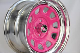 Hochtech 15x8 4x100 ET16 Pink w Polish Lip Diamond Wheels Style Steelies
