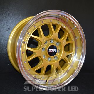 "New 15x8 15"" 502 Gold Str Racing Wheels Rims Set Acura BMW Chevy Honda Mazda"