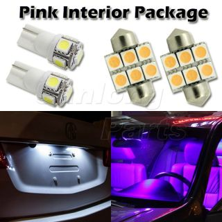 "6 Pink Purple LED Interior Lights Package T10 194 1 25"" for Acura Infiniti Kia"