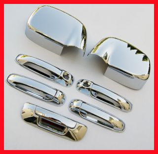 02 08 Dodge RAM Chrome 5 Door Handle Mirror Covers 2K H