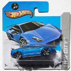 2013 Hot Wheels 29 Lamborghini Gallardo LP 570 4 Superleggera Short Card Blue