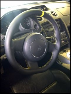 Lamborghini Gallardo Steering Wheel re Wrap Extra Thick Padding Yellow Silver
