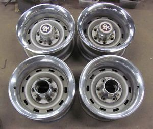 Set of 4 15x8 Chevy Truck 6 Lug Rallye Wheels with Trim 4x4 GMC Chevrolet