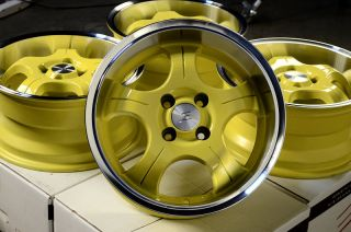 15 4x100 Yellow Low Offset 25 4 Lug Wheels Del Sol Integra Honda Civic CRX Rims