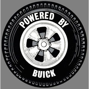 Power by Buick Wheel Vintage Hot Rat Rod Drag Racing Decal Sticker