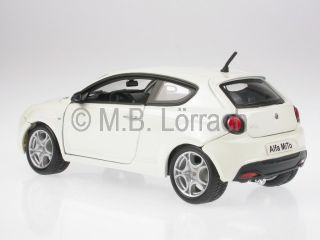 Alfa Romeo Mito White Diecast Model Car Bburago 1 24