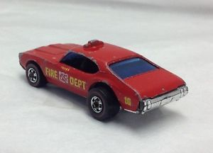 Hot Wheels Redline Police Cruiser Fire Dept Red Olds 442 Chief Light Bar No Dome
