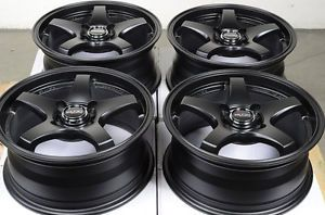 15 4x100 Matte Black Wheels Yaris Cooper Cobalt Civic Lancer Accent Cabrio Rims