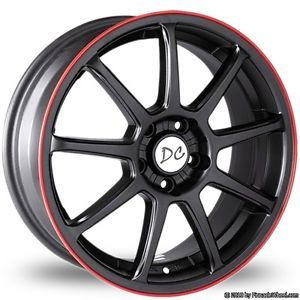 "Divinity Racing Suzuka 18"" Wheels Black Red Line Tires Fitcamry Civic Altima Kia"