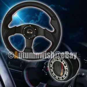 Mitsubishi 320mm Spokes PVC Black Leather Racing Steering Wheel Red Stitch Hub