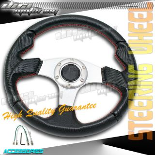 Black Silver Red Stitch PVC 320mm Racing Steering Wheel