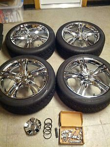 "Lightly Used 18"" Chrome Wheels Rims w Tires G6 Malibu Cobalt Solstice Sky Saab"