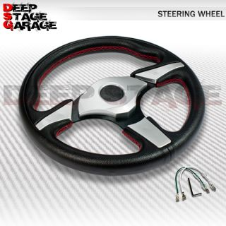 Universal 6 Bolt Standard 330mm Racing Steering Wheel Black Silver Thumb Rest